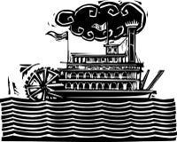 在波浪的严厉的轮子河船 库存照片