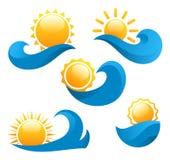 在波浪的太阳商标在白色背景 图库摄影