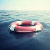 在波浪的红色救生圈作为帮助和希望的标志 3d例证 库存照片