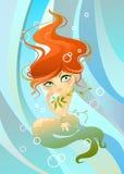 在波浪的美人鱼背景 库存例证