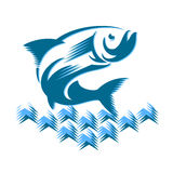 在波浪的鱼 免版税库存图片
