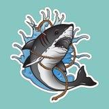 在波浪的鲨鱼 图库摄影