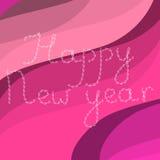 在波浪背景的透雕细工信件新年快乐 免版税库存图片