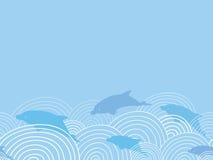 在波浪水平的无缝的样式中的Dolphines 免版税库存照片