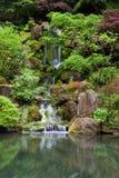 落下的瀑布在日本庭院里在波特兰 免版税库存图片