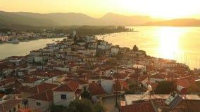 在波罗斯岛海岛上的日落在爱琴海,希腊 影视素材