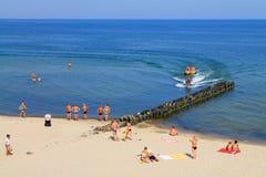 在波罗的海海岸的夏天在Zelenogradsk 库存照片