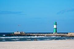 在波罗的海海岸的痣在Warnemuende,德国 库存照片
