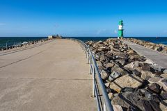 在波罗的海海岸的痣在Warnemuende,德国 免版税图库摄影