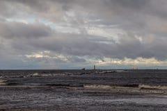 在波罗的海的冬天在里加 库存图片
