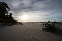 在波罗的海的日落在Karwienskie Blota 2018年 库存图片