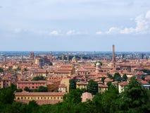 在波隆纳,意大利的全景 库存照片