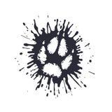 在泥中的食肉动物的爪子印刷品飞溅 库存例证