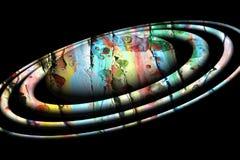 在泥泞的黑背景的被隔绝的五颜六色的行星 库存照片