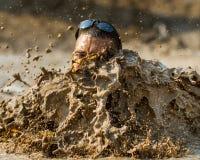 在泥的大飞溅 免版税库存照片