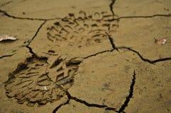 在泥的鞋子脚印 免版税库存照片