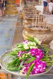 在泰国借的兰花佛教徒 免版税库存图片