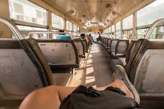 在泰国公共汽车里面 免版税库存图片