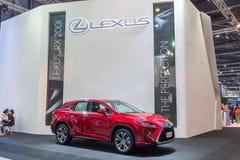在泰国国际马达商展的红色lexus汽车2015年 库存图片