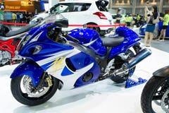 在泰国国际马达商展的铃木Hayabusa摩托车 库存图片