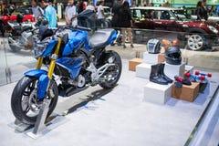 在泰国国际马达商展的BMW G310汽车2015年 免版税库存照片