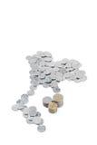 在泰国地图形状的泰铢硬币与堆2, 5和10 B 库存图片