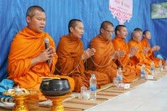 在泰国婚姻仪式的僧侣  免版税库存照片