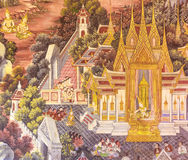 在泰国寺庙墙壁上的传统泰国古老绘画  免版税库存照片