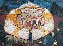 在泰国寺庙的美丽的壁画 库存照片