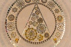 在泰国寺庙,样式的彩色玻璃地板,抽象 免版税图库摄影