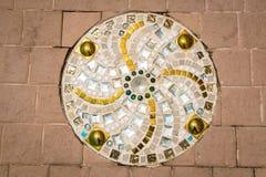 在泰国寺庙,样式的彩色玻璃地板 免版税库存照片