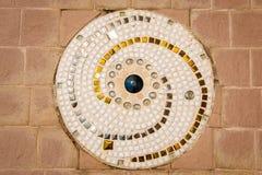 在泰国寺庙,样式的彩色玻璃地板 免版税库存图片