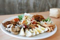 在泰国样式和黏米饭的绿色番木瓜沙拉 图库摄影