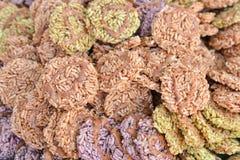在泰国样式点心的米薄脆饼干 免版税图库摄影