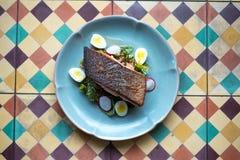 在泰国样式的鲑鱼排 库存图片