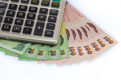 在泰国现金的计算器 库存图片