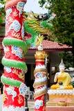 在泰国的一个大龙雕象 免版税库存照片