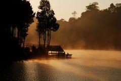 在泰国的北部的剪影 免版税库存图片