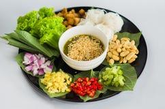 在泰国的叶子包裹的食物 免版税库存图片