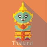 在泰国的曼谷玉佛寺的大雕象 库存照片