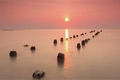 在泰国的海湾的美好的日落 免版税图库摄影