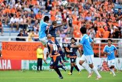 在泰国英格兰足球超级联赛的行动 免版税库存图片