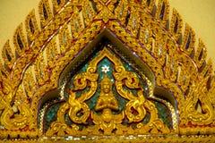 在泰国装饰在佛教寺庙Wat的马赛克 免版税库存照片