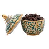 在泰国陶瓷的咖啡豆 库存图片