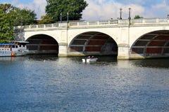 在泰晤士河的金斯敦桥梁在萨里英国 库存图片