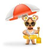 在泳装的动物有拿着铁锹的伞的 库存图片