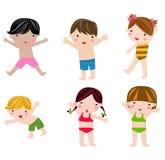 在泳装集合的逗人喜爱的夏天孩子 皇族释放例证