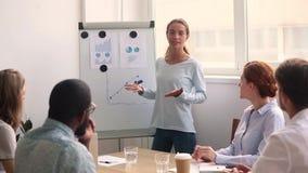 在活动挂图的年轻女实业家教练图画图表给介绍 股票视频