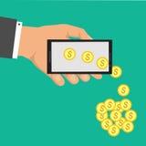 在流动商务的成交 得到金钱通过流动技术 网上销售技术 平的传染媒介动画片流动付款illu 免版税库存图片