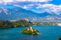 在流血的湖,斯洛文尼亚,欧洲的惊人的看法 库存照片